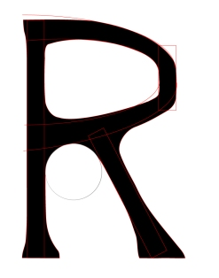"""R"" Letterform with rudimentary guides"